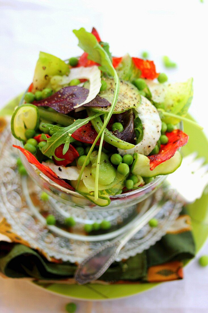 Crisp vegetable and chorizo salad