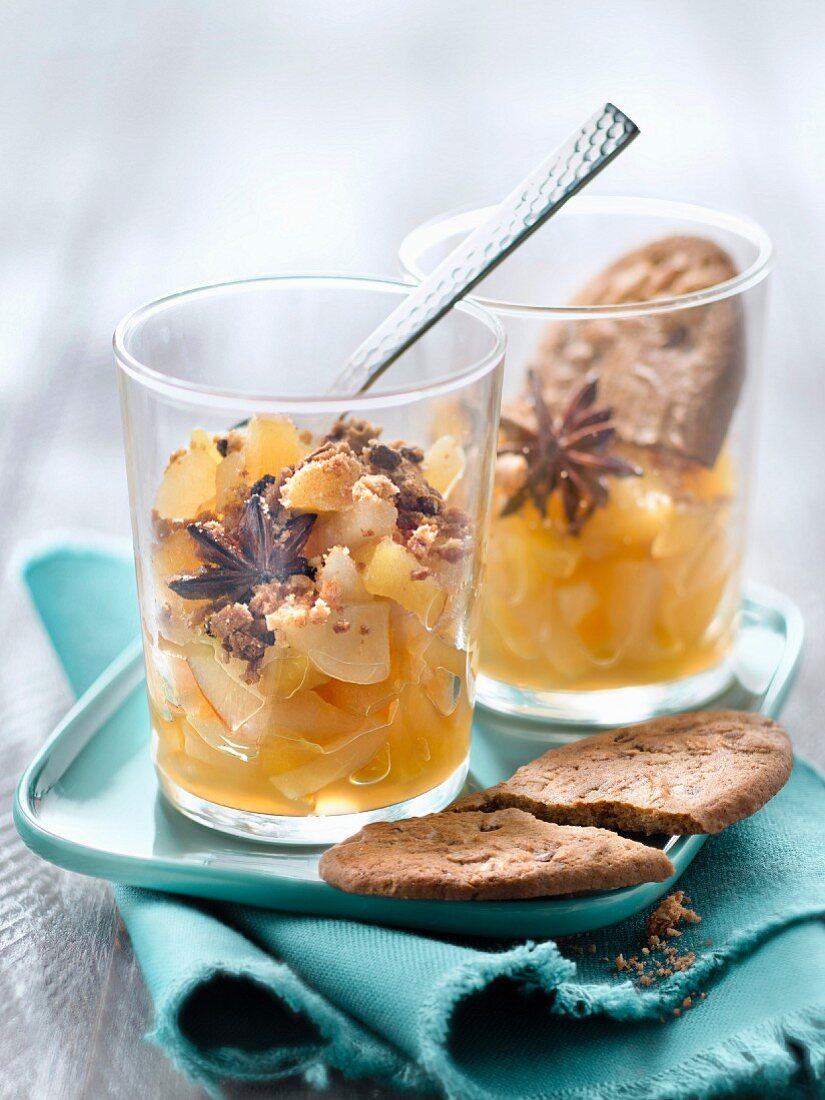 Stewed apples and pears with star anise and BelVita biscuit crumbs