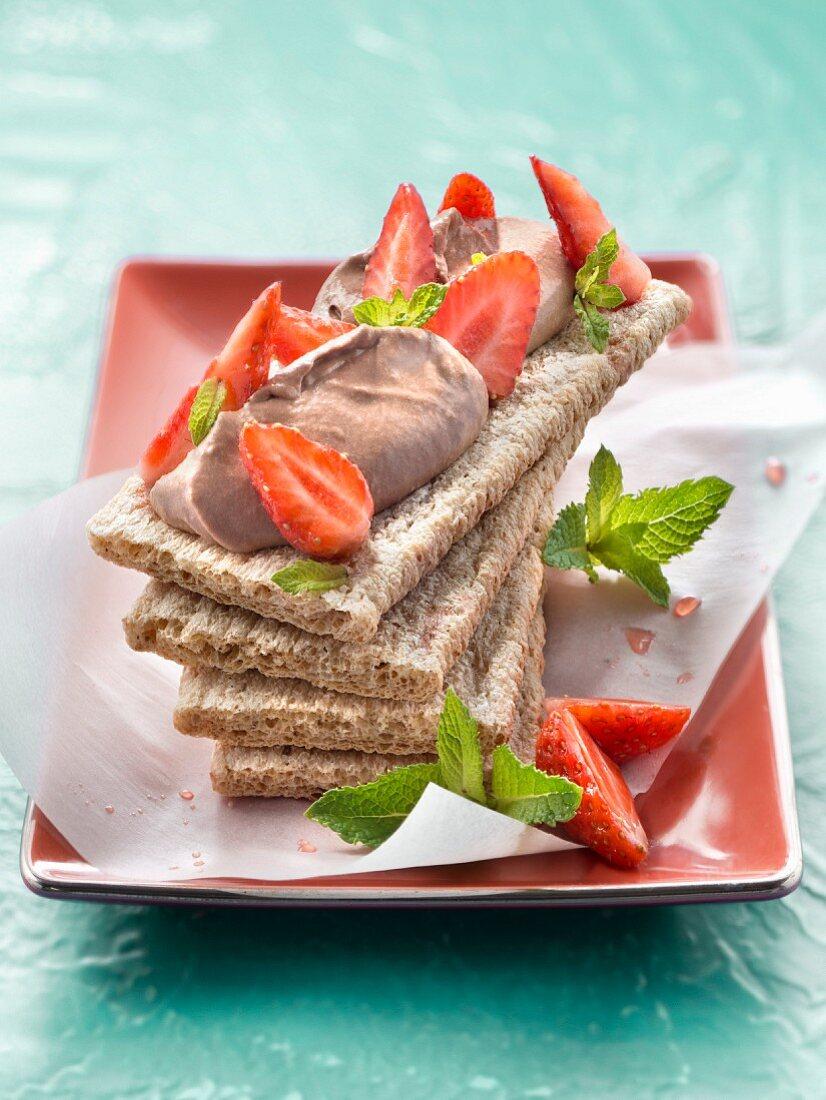 Chocolate ganache and strawberry crisp open sandwich