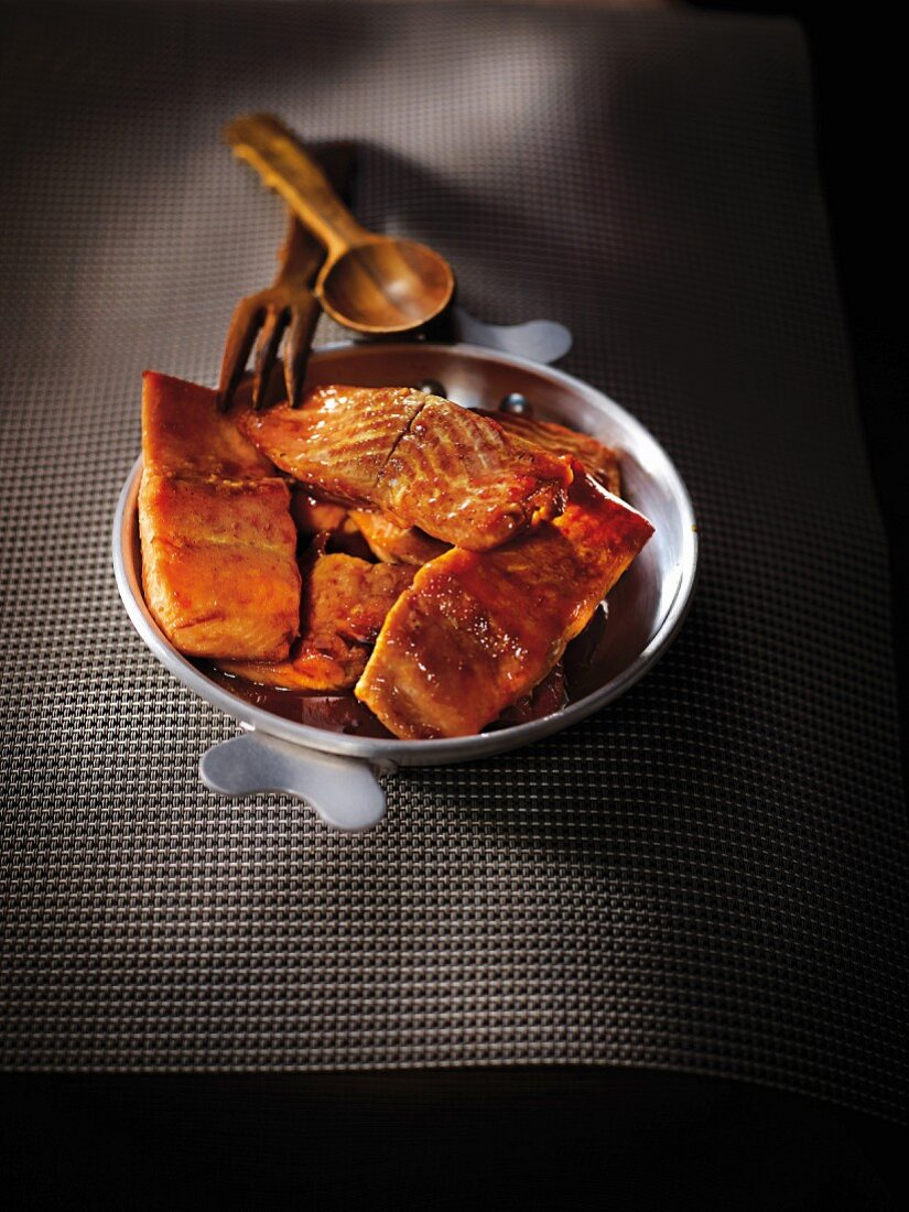 Trout glazes with honey and soya sauce