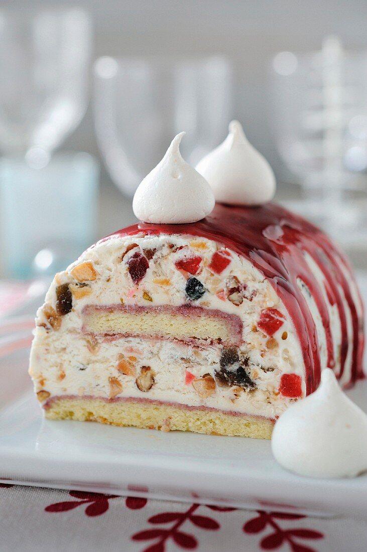 Christmas iced nougat log cake