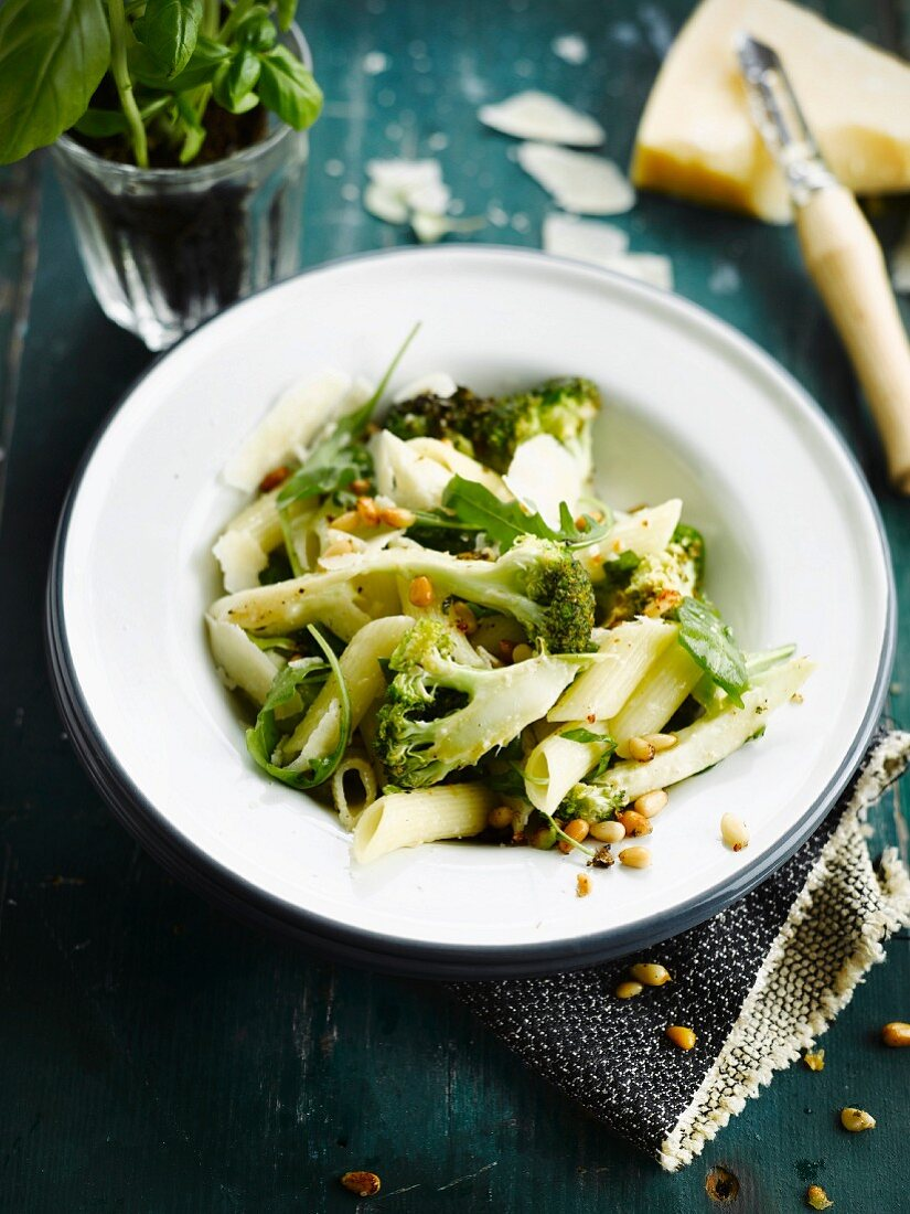 Penne with broccolis,parmesan and pine nuts