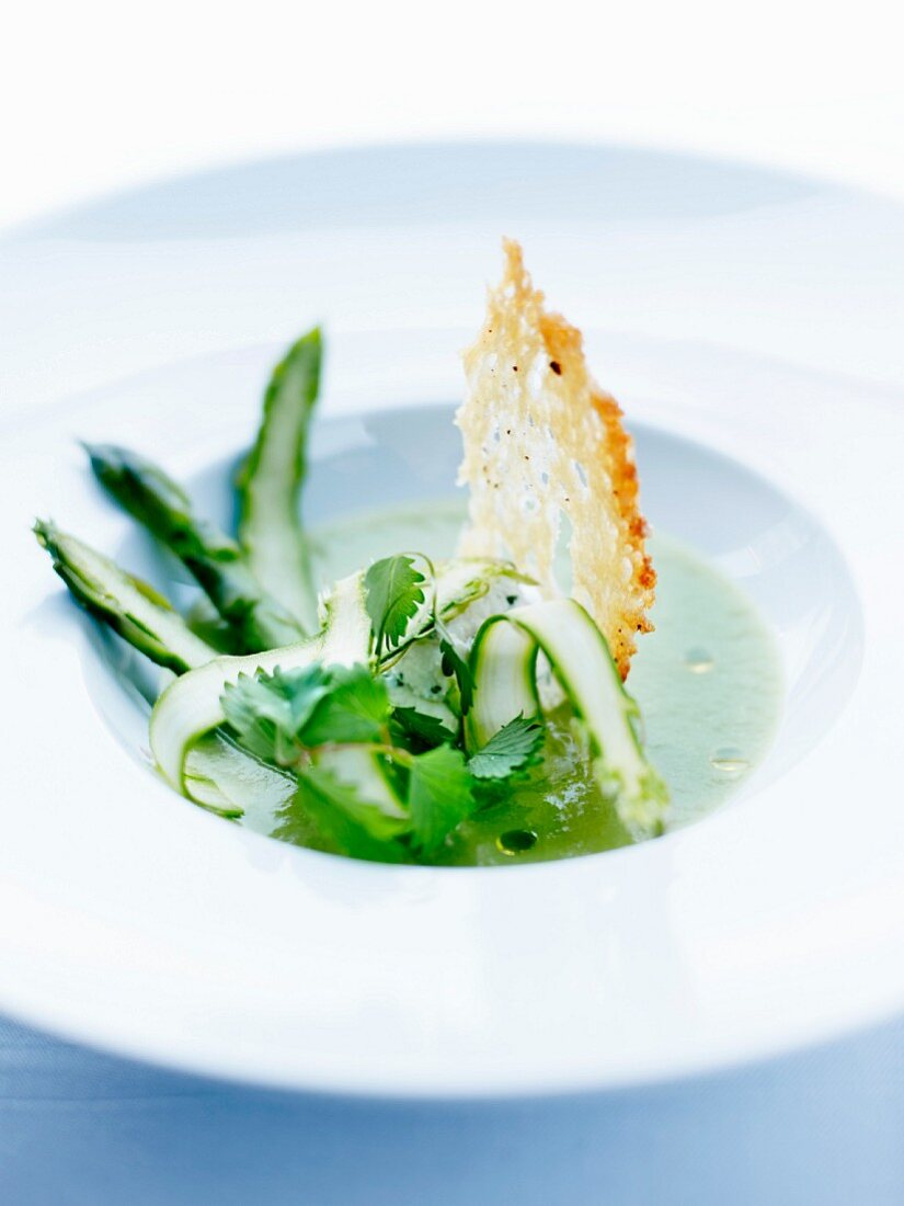 Green asparagus and sheep's milk Brousse cheese gazpacho with burnet at The Café Bras restaurant in Rodez