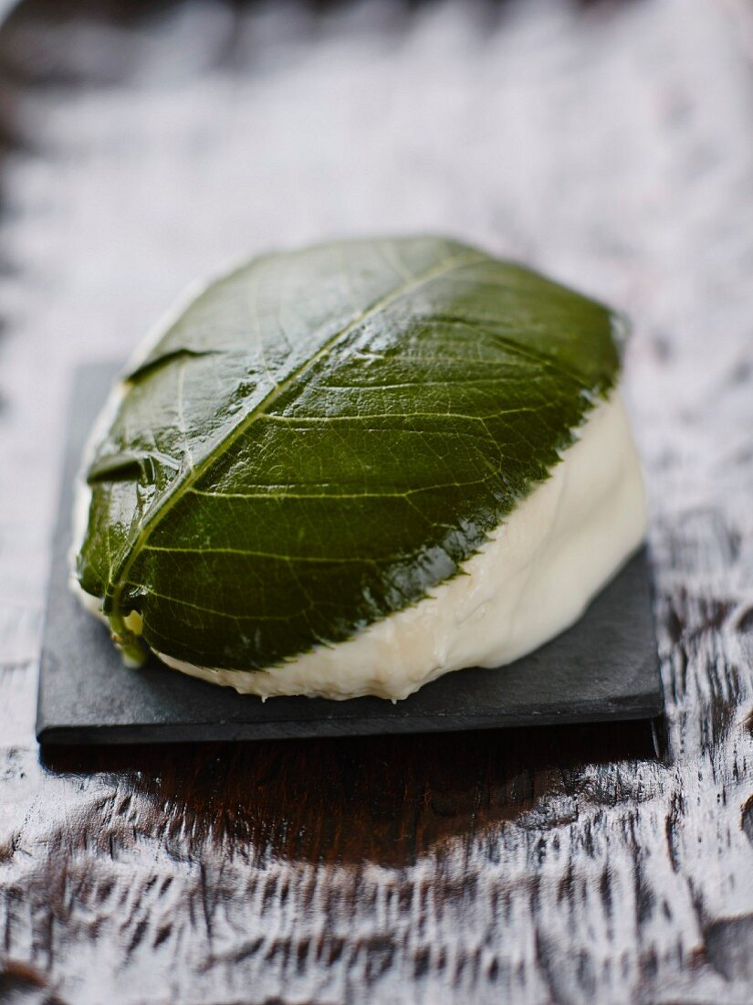 Mozzarella covered with a cherry leaf from Madame Hisada in Paris