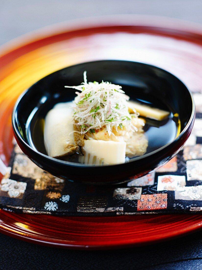 Dashi, stock with fresh seaweed and bonito flakes