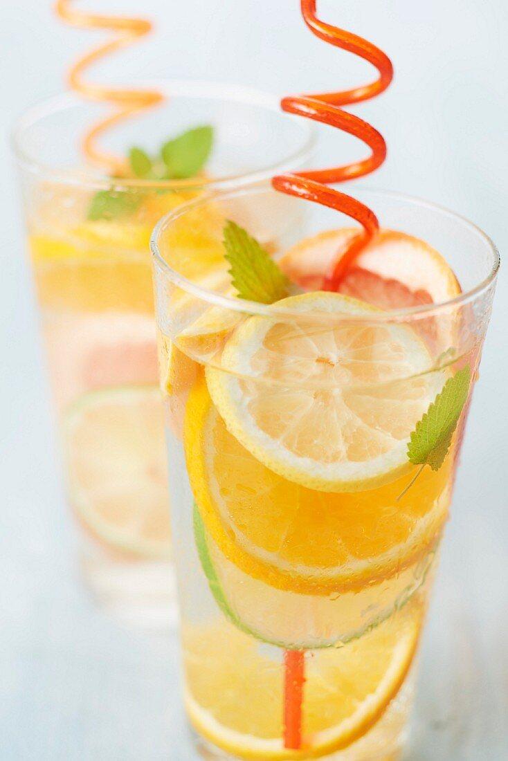 Citrus fruit and lemon balm detox water