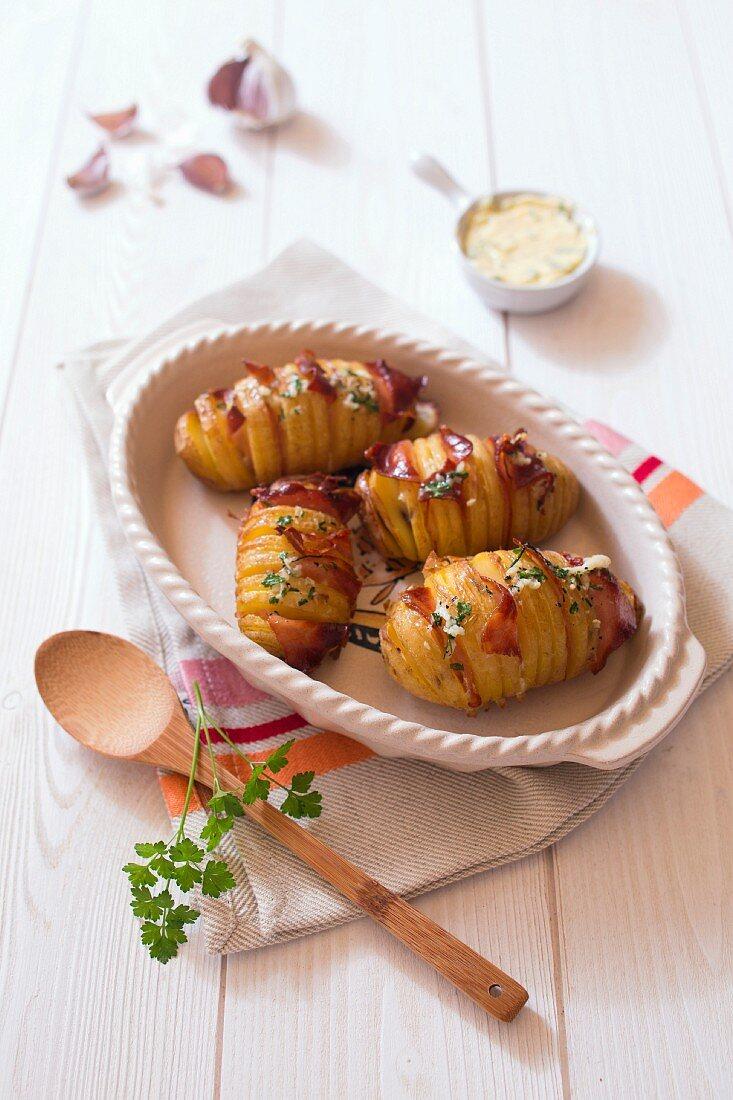 Roast hasselback potatoes with bacon