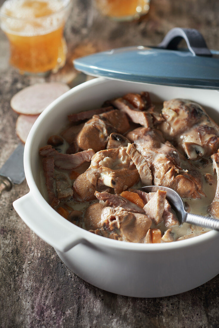 Rabbit and Andouille stew in creamy cider sauce
