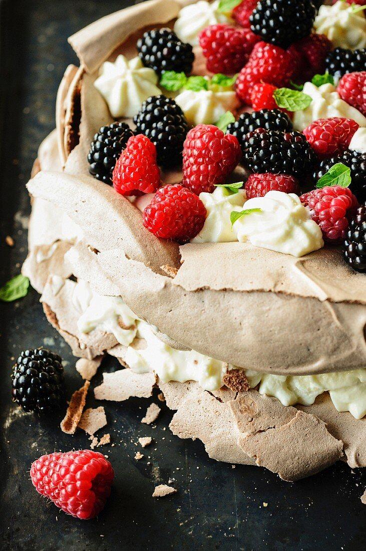 Chocolate,raspberry and blackberry Pavlova