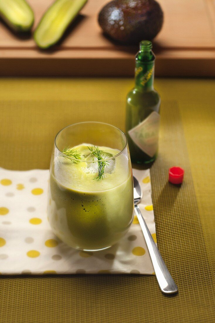 Avocado-cucumber cocktail with green Tabasco and dill