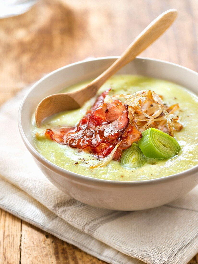 Thick leek soup with bacon and maple syrup
