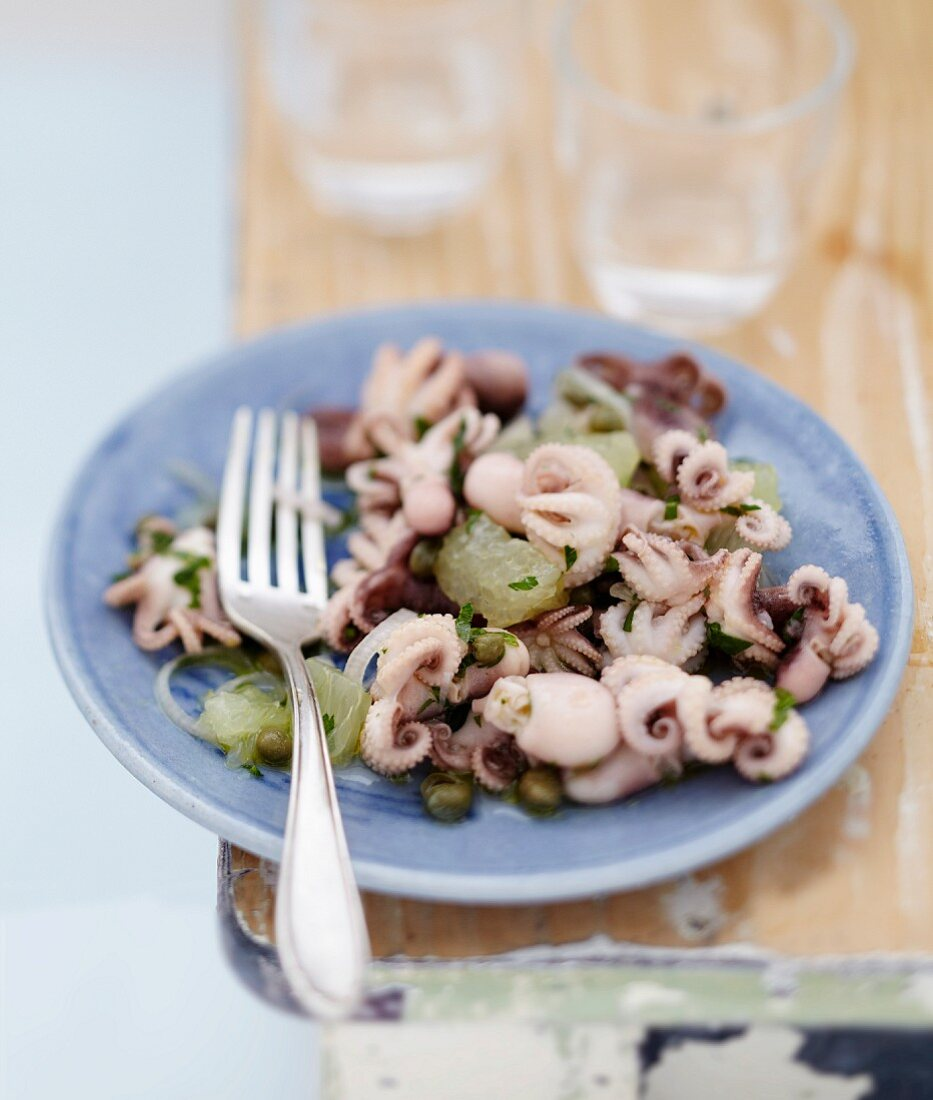 Octopus salad with capers and lemon