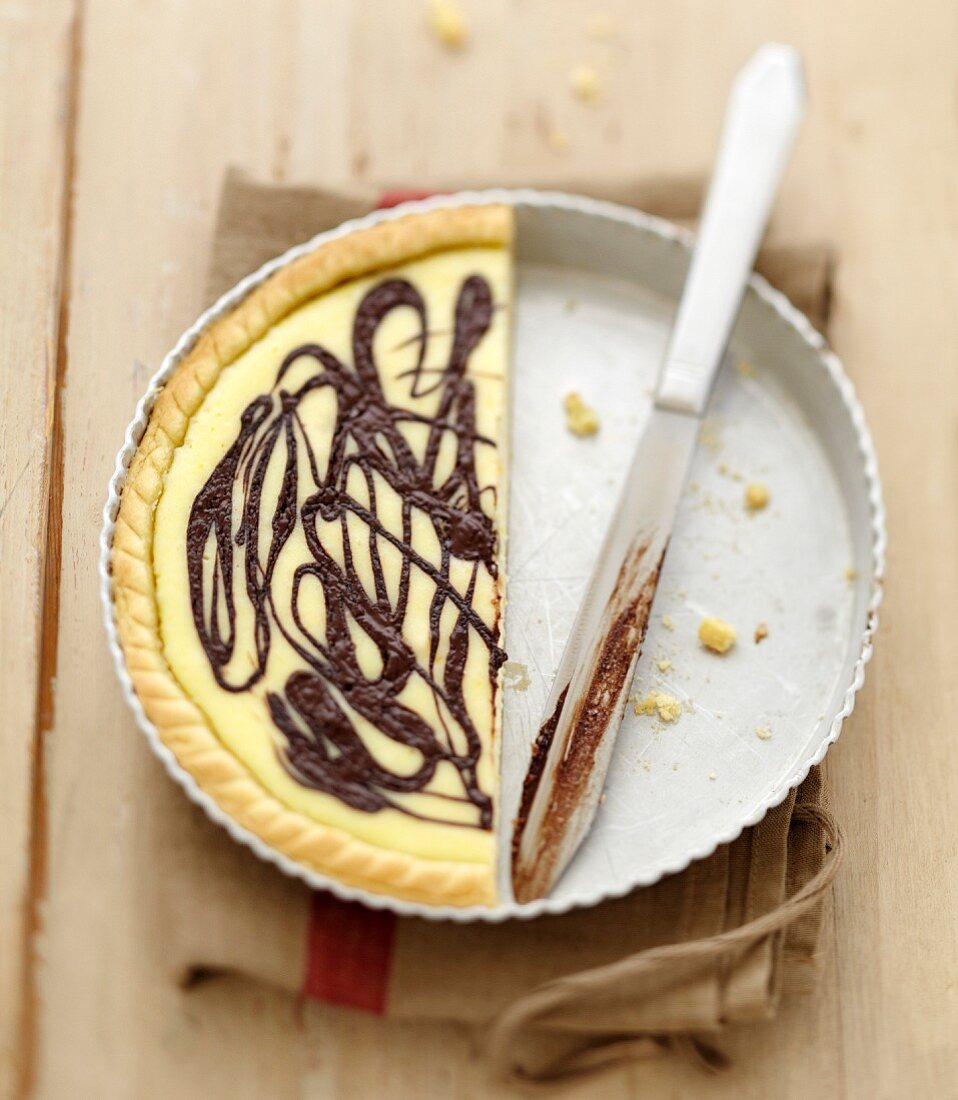 Ricotta and chocolate tart