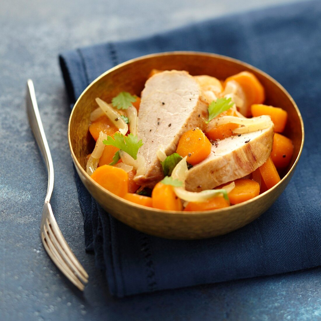 Morrocan-style pork filet mignon with carrots