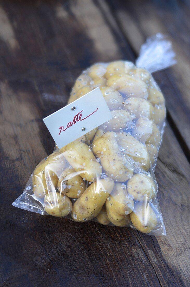 Plastic bag of Ratte potatoes