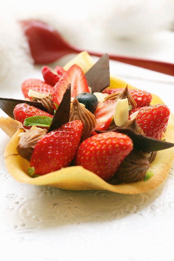 Chocolate ganache and strawberry filo pastry tulipe