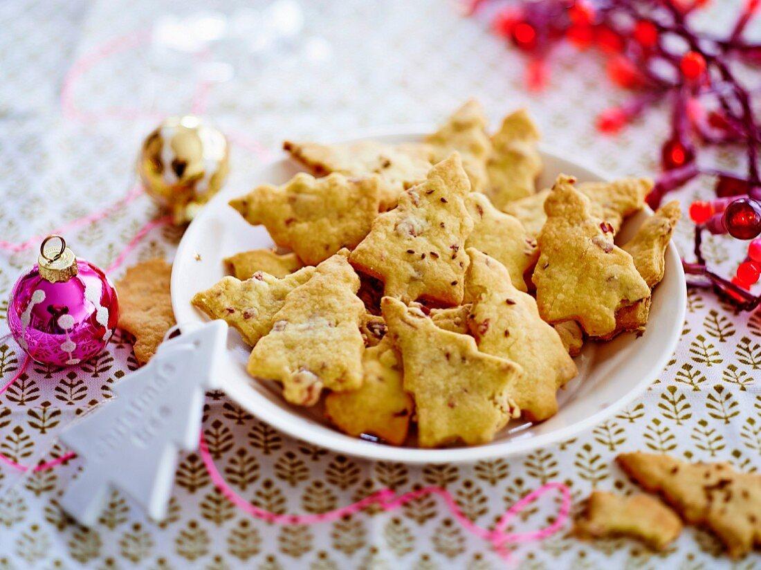 Christmas tree-shaped ham and parmesan savoury shortbreads