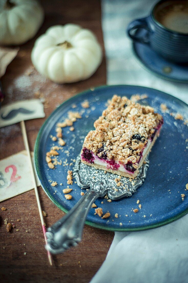 Blackberry and oatmeal cheesecake squares