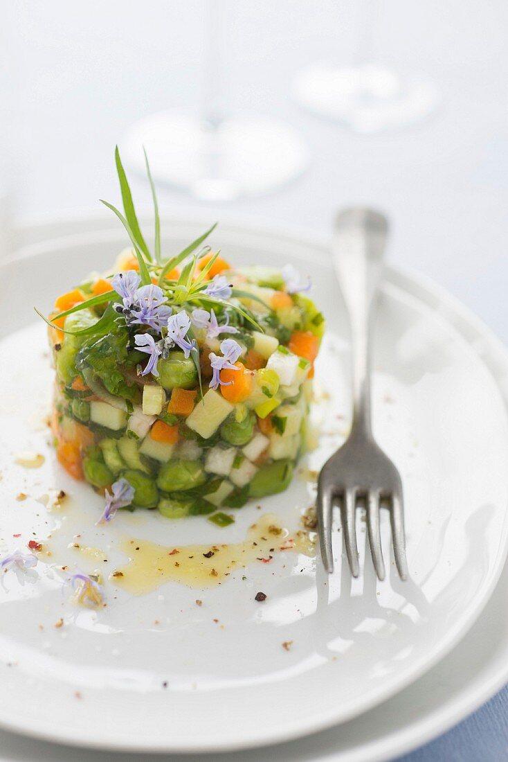 Vegetable tartare in herb aspic