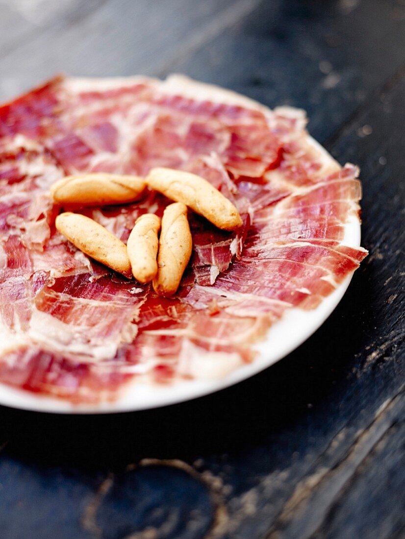 Plate of Spanish ham