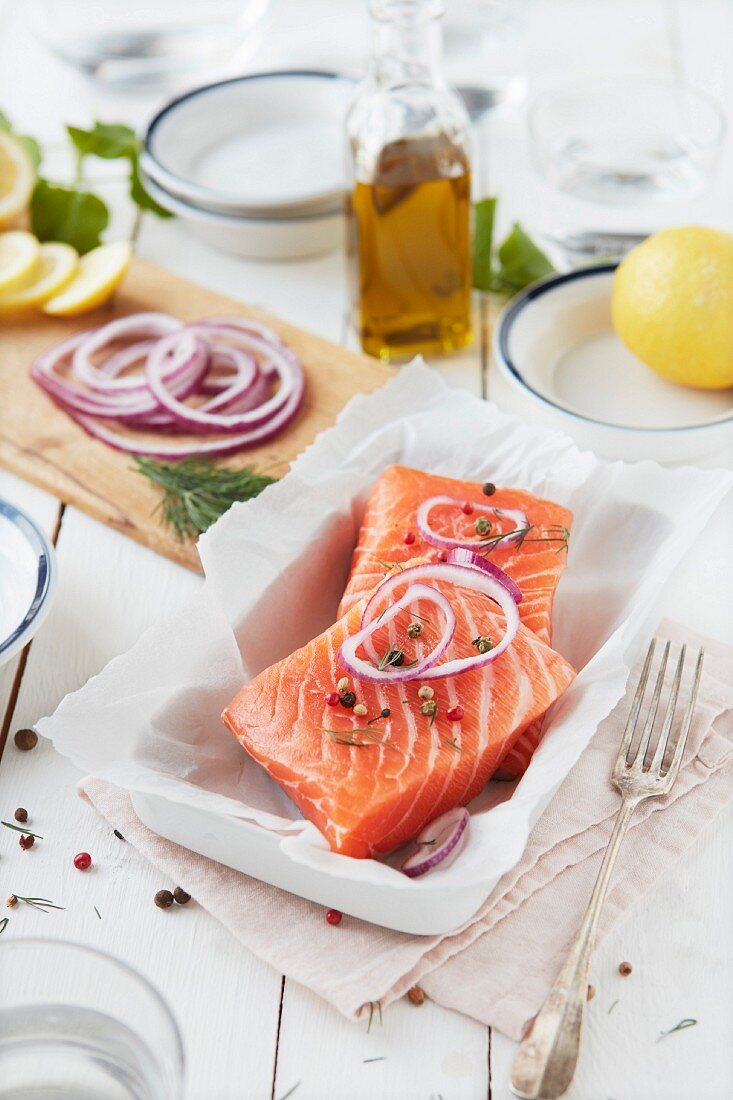 Salmon papillote before cooking