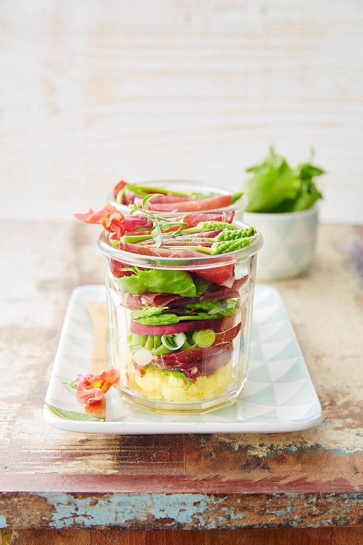 Grisons meat, green asparagus, beetroot and polenta salad jar