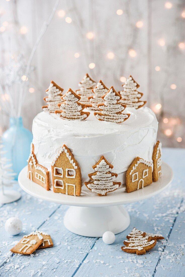Village under the snow Christmas cake