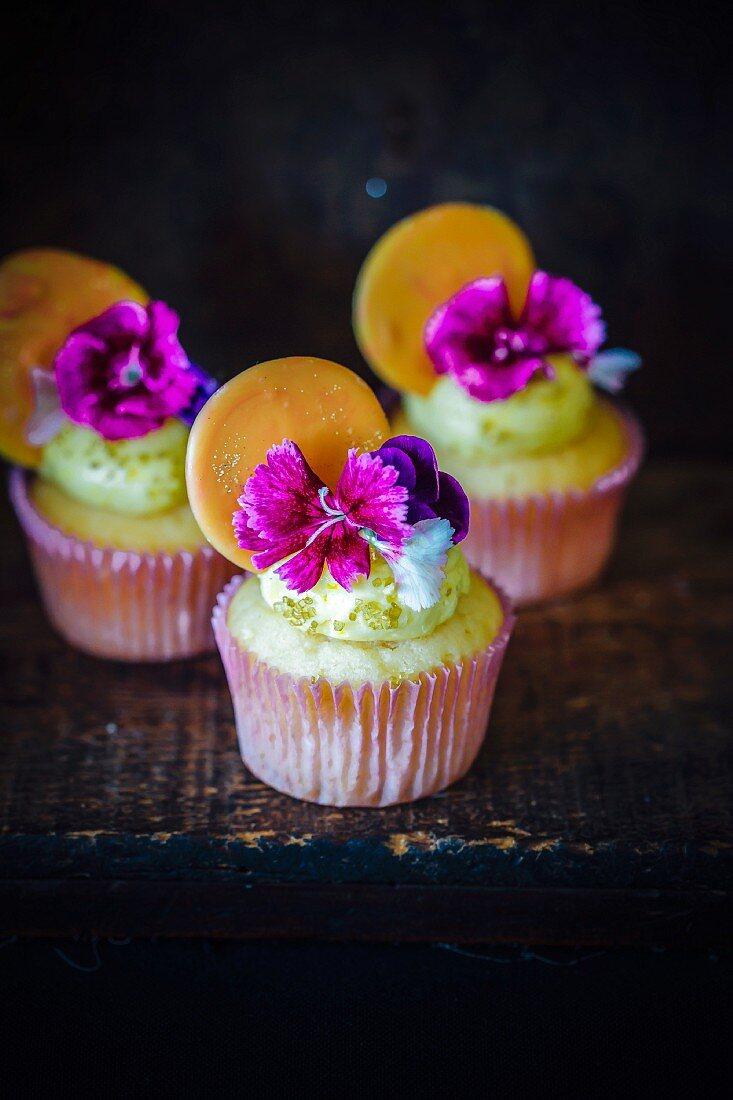 Honey,Orange And Flower Cupcakes