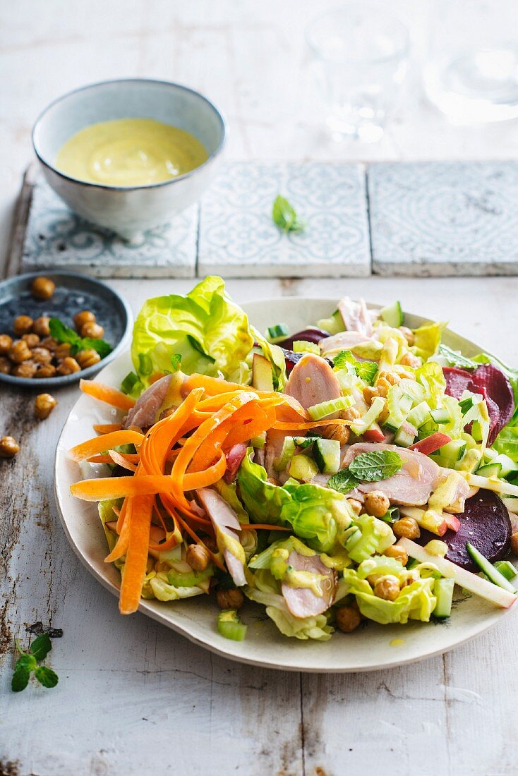 Chickpea, carrot, beetroot, celeriac, apple and smoked chicken salad