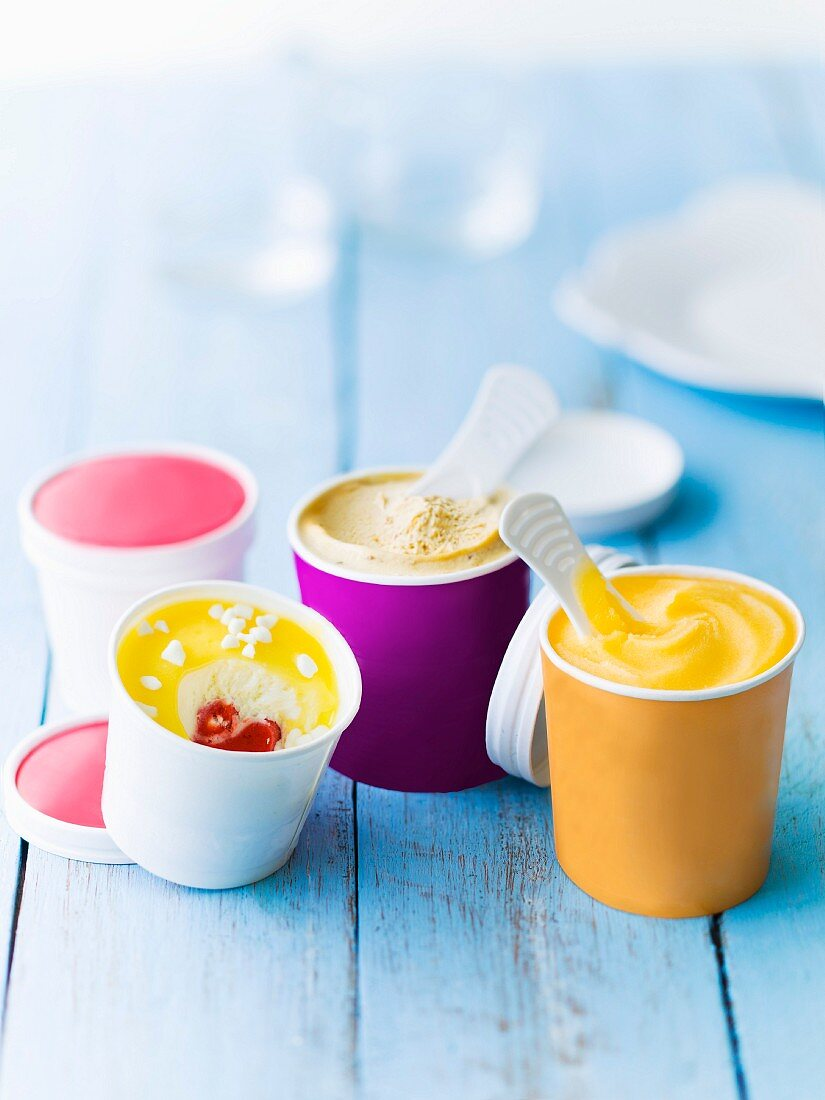 Assortment of different flavored pots of ice creams