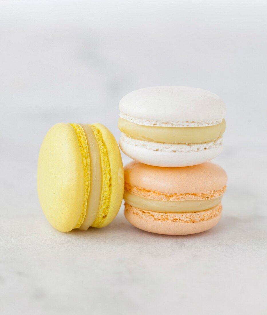 Banana, white chocolate and orange blossom Macaron trio