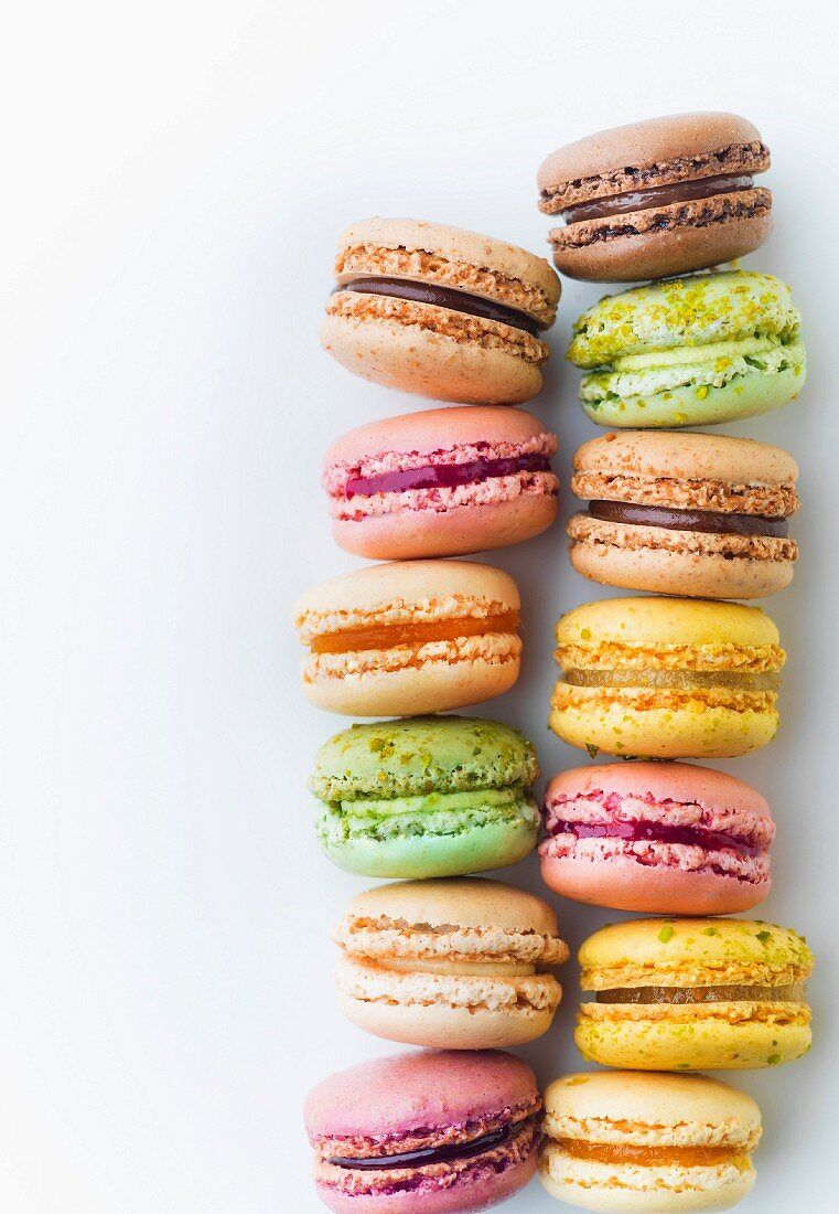 Assortment of Macarons on a white background