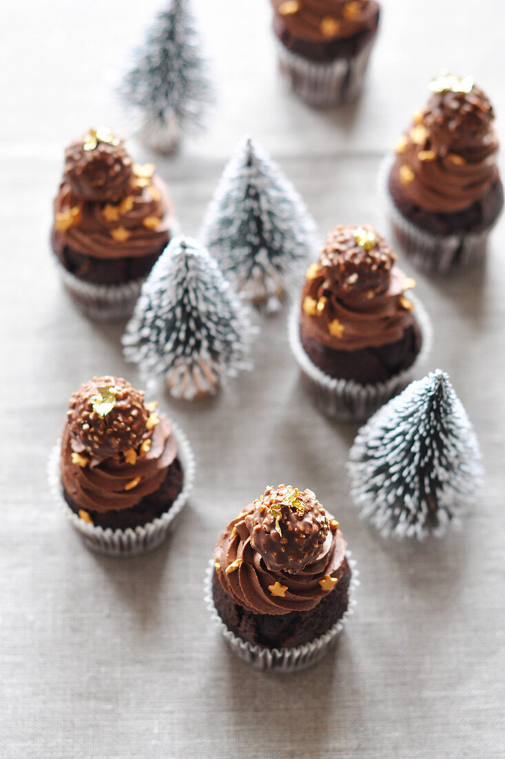 Rocher and chocolate mini Christmas cupcakes
