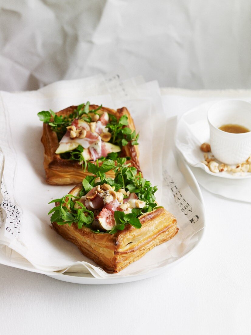 Fig, prosciutto and watercress tarts