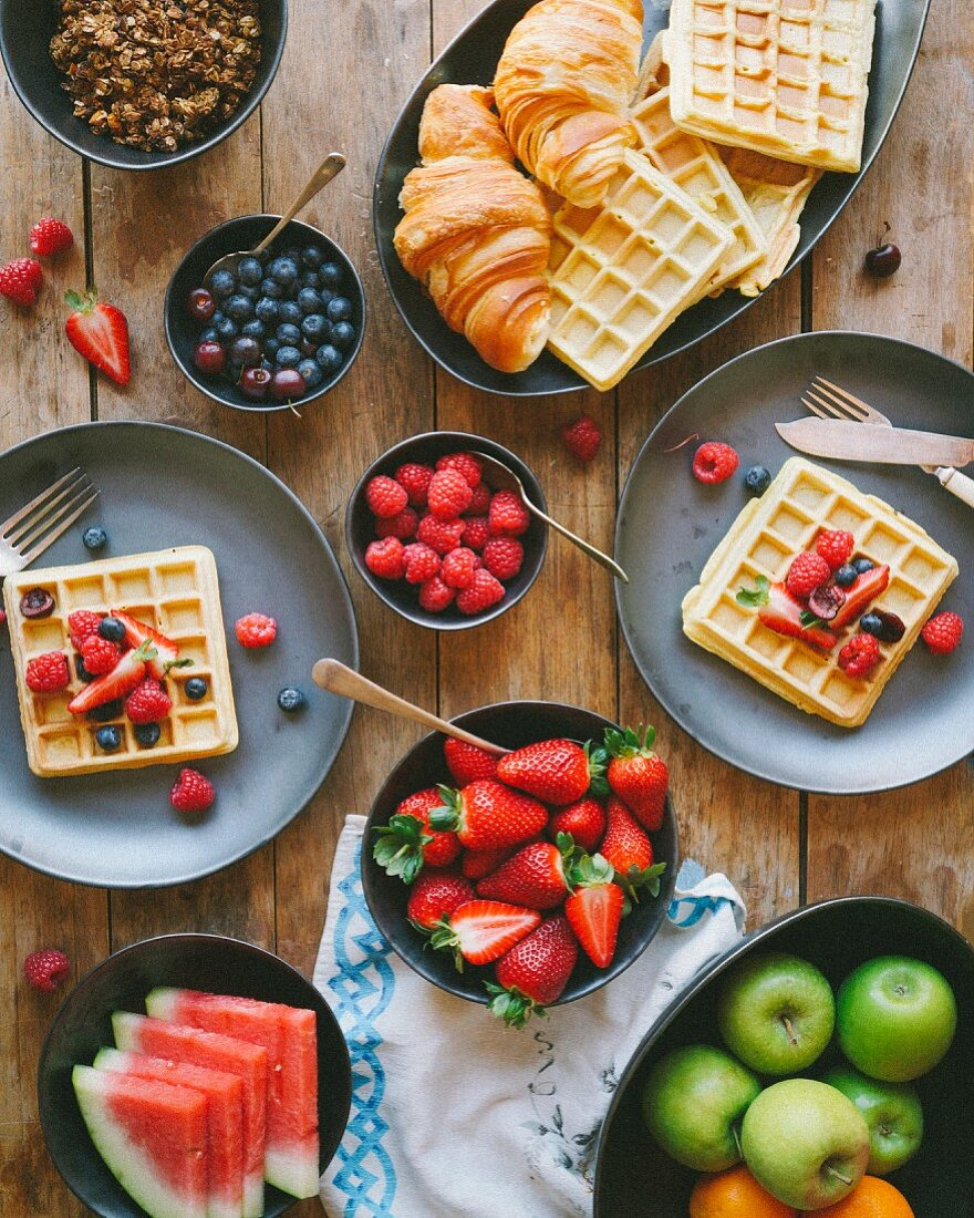Waffle and fresh fruit brunch