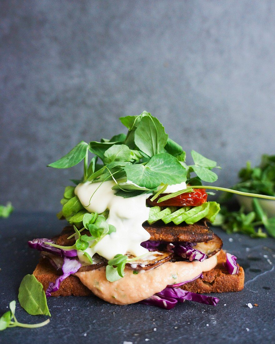 Roasted cep, chickpea patties, avocado, confit tomato and goat's cheese rye bread sandwich