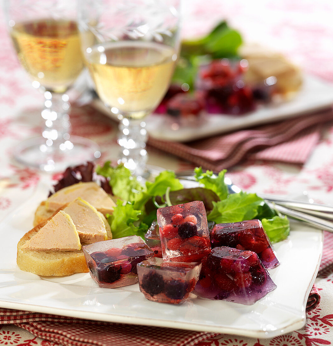 White wine and summer berry jelly cubes, foie gras on toast