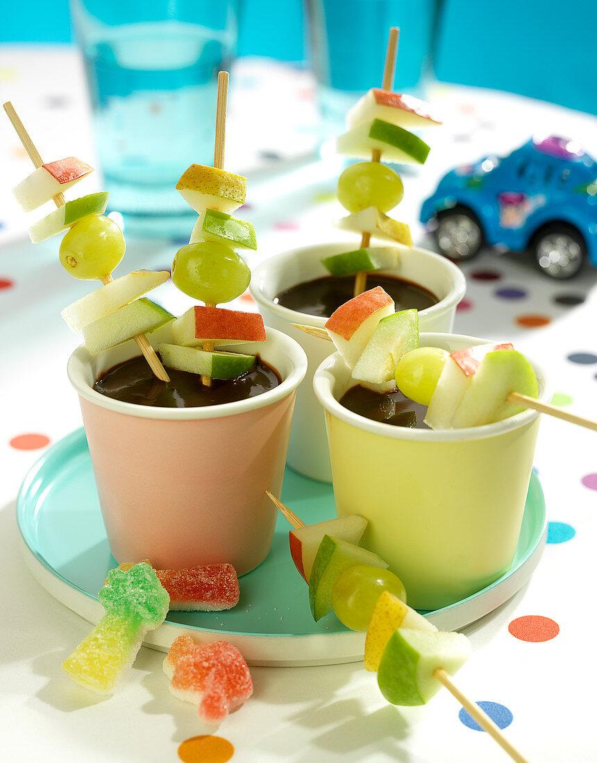 Chocolate fondue and fresh fruit brochettes