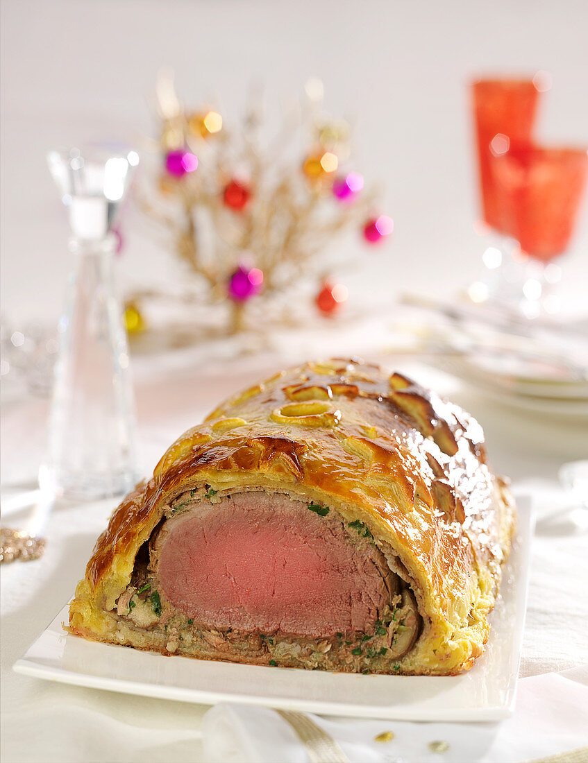 Beef Wellington with button mushrooms