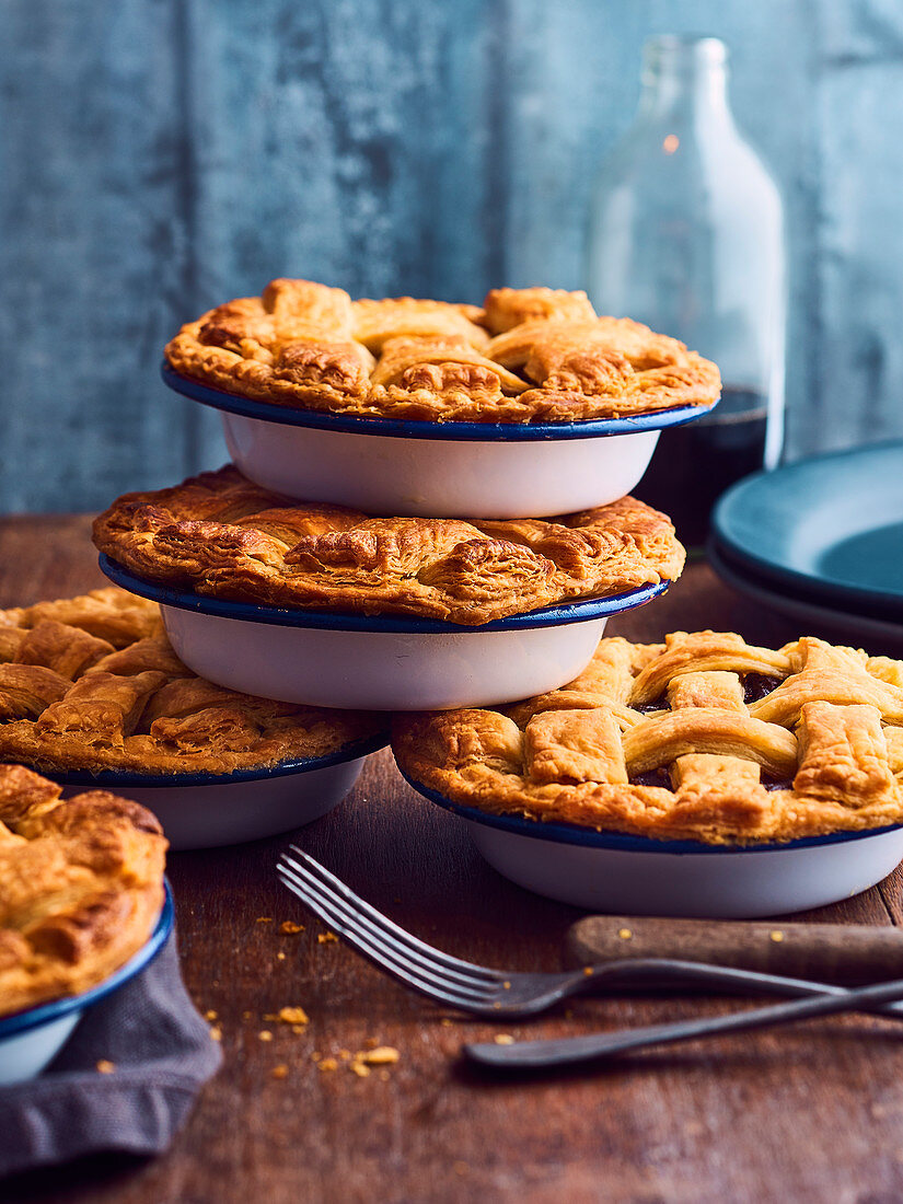 Beef and carrot criss-cross pies