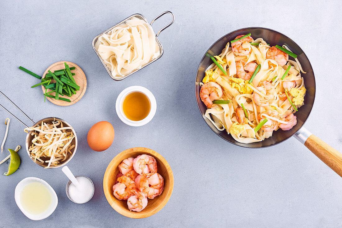 Shrimp Pad Thai-style wok