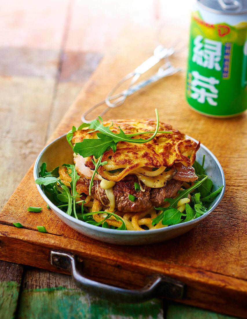 Udon burger with teriyaki beef steaks