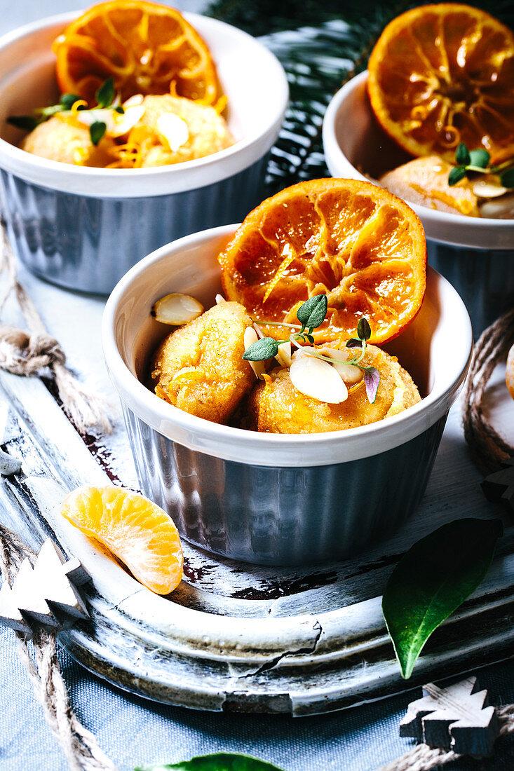 Halva, vegetarian dessert of semolina with tangerines