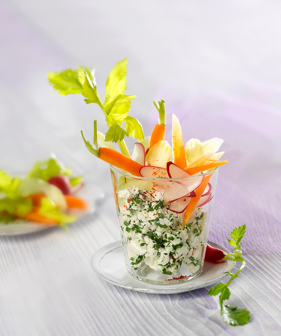 Brocciu and raw vegetable Verrine