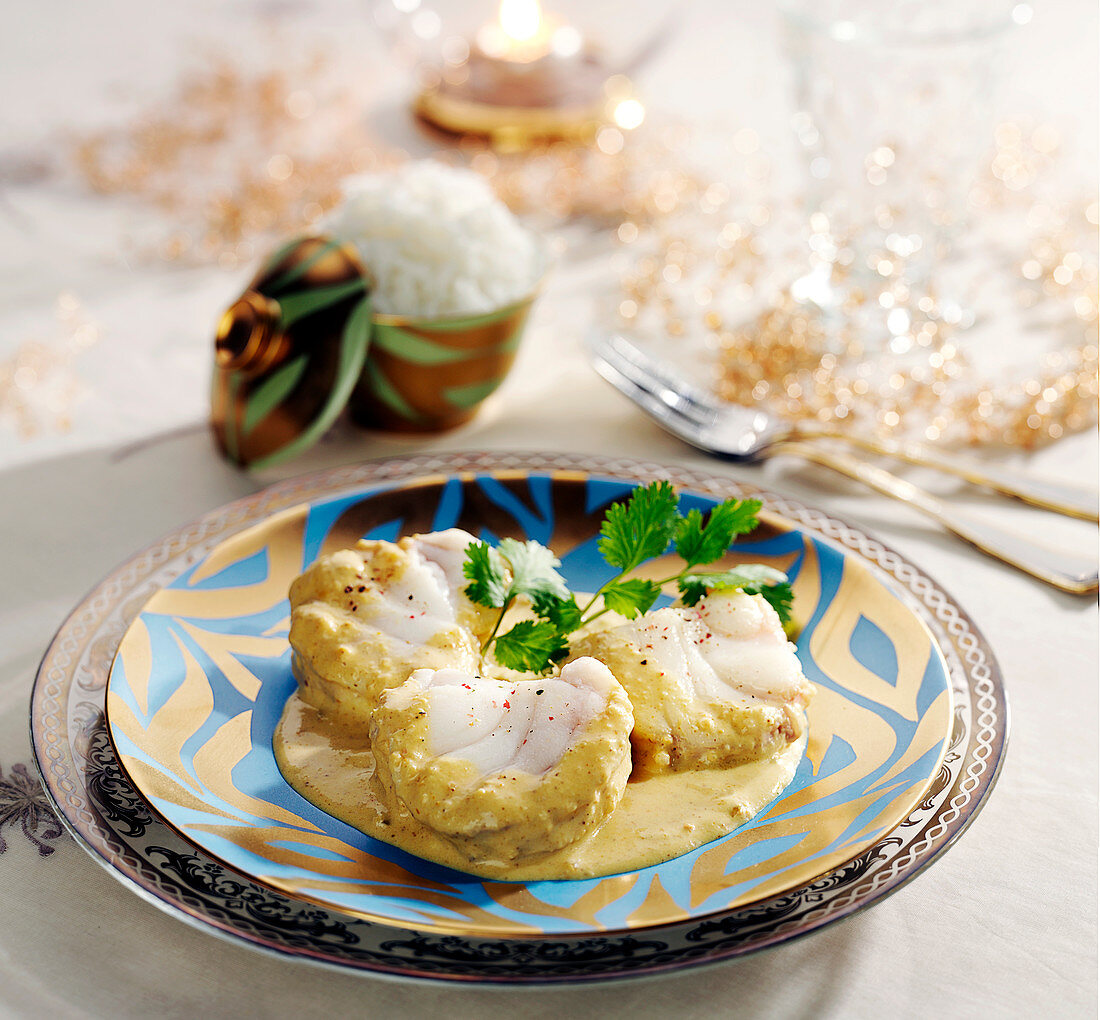Monkfish medaillon in curry sauce