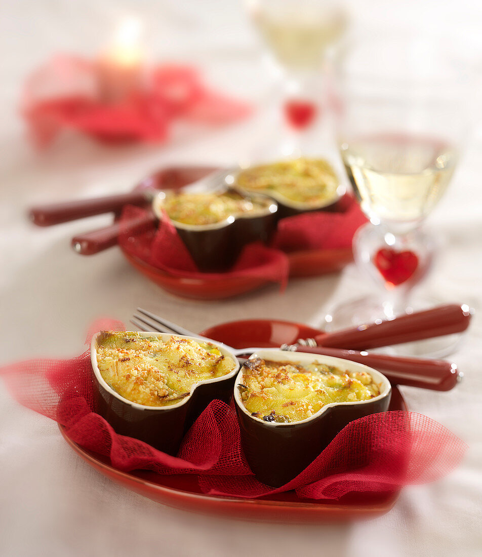 Small leek-Roquefort crumble gratin
