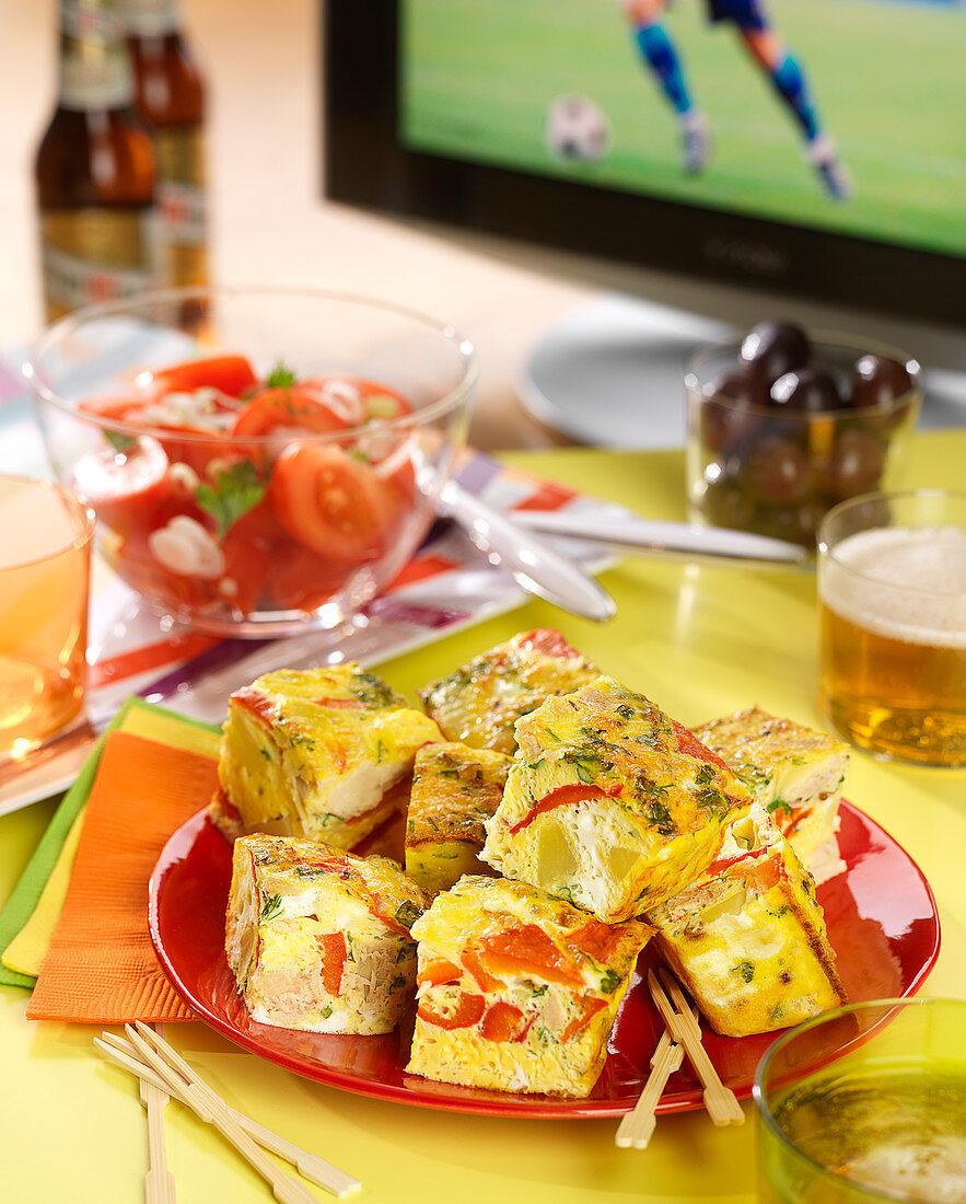 Tuna and pepper Spanish tortilla cubes