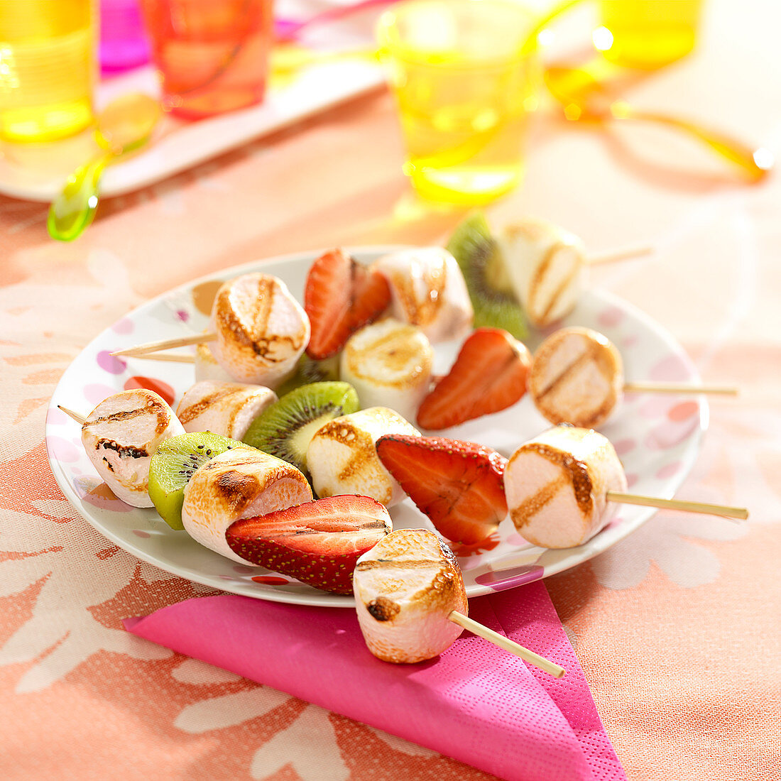 Fresh fruit and marshmallow brochettes