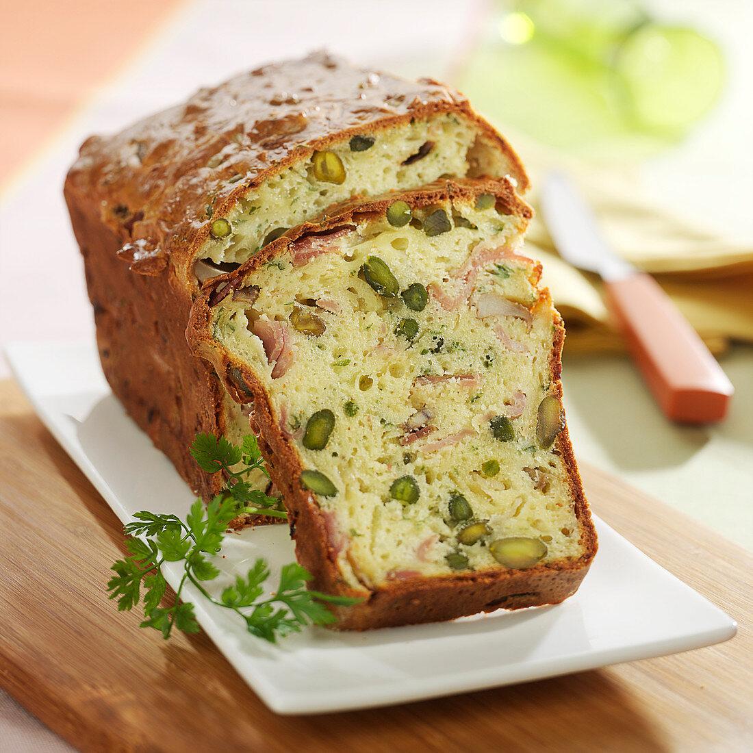 Ham, pistachio and parmesan cake