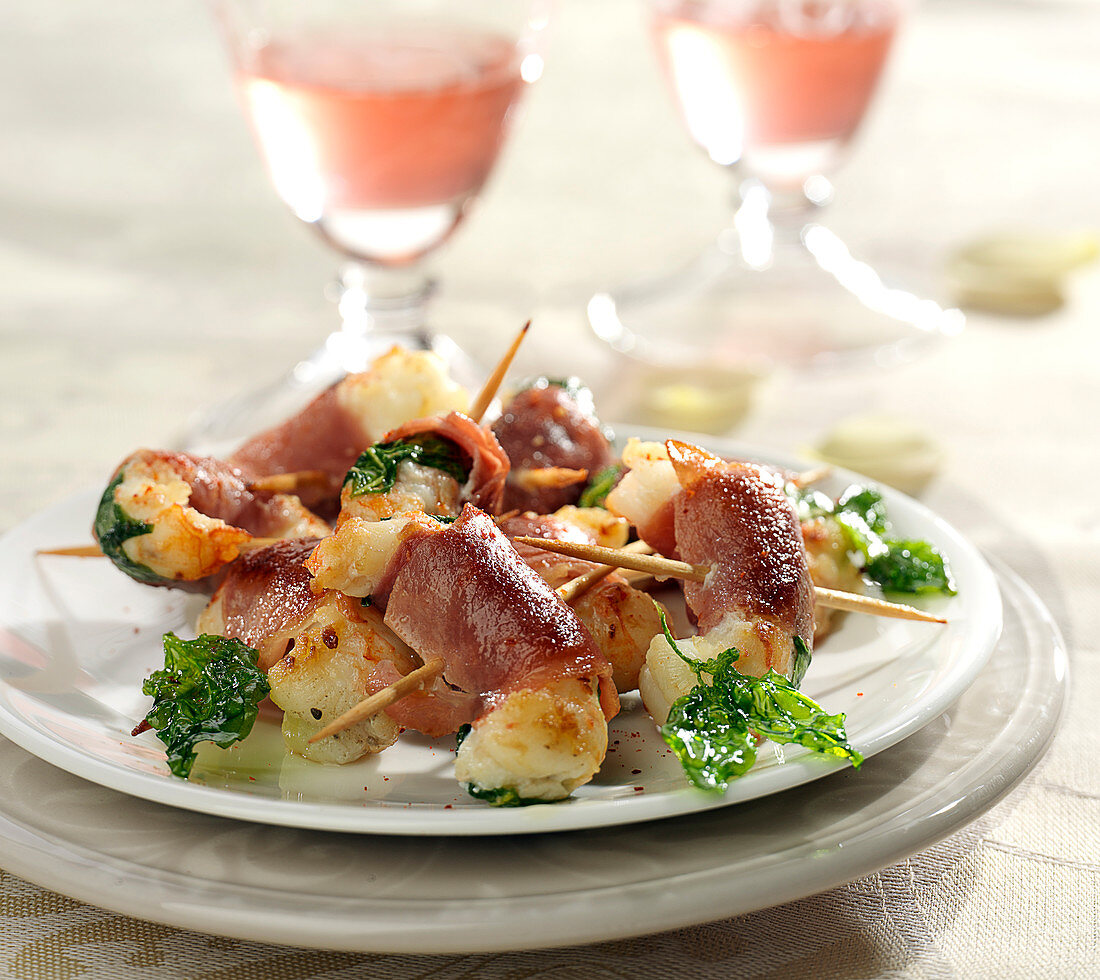 Shrimp and basil rolled in Parma ham